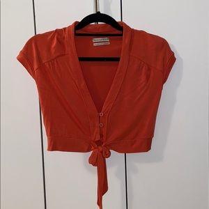 Orange Crop Top with Front Tie